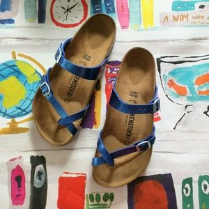 NEW Birkenstock Mayira Metallic Blue Sandals 40R